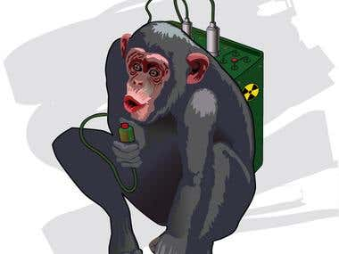 A monkey with a bomb