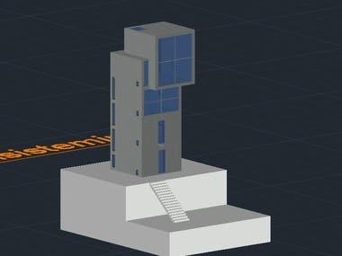 3D AutoCAD House Plan 4x4
