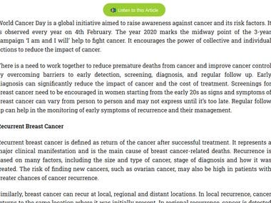 Article on World Cancer Day