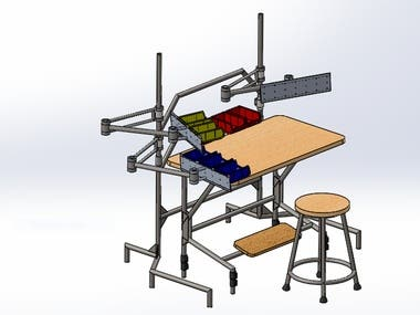 Assembly bench for a gas valve assembling section