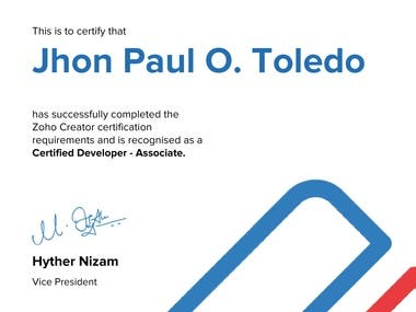 Zoho Certified Developer