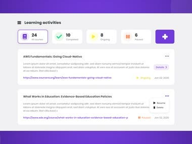 Learning journal UI/UX Design and development