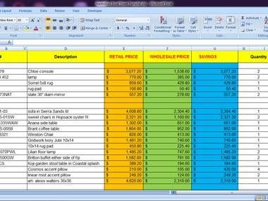 Formulas in Excel Spreadsheet