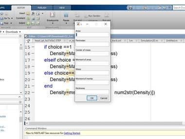 Geometric shape properties using Matlab
