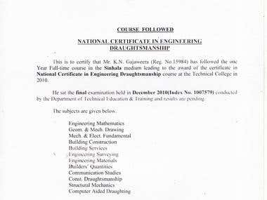 National Certificate in Engineering Draughtsman ship