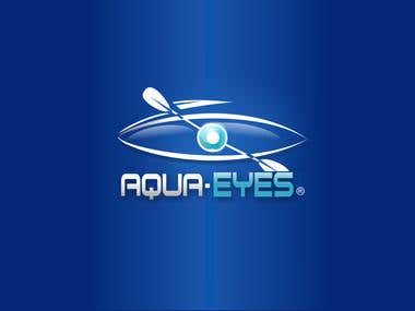 Aqua eyes Text and Graphic logo