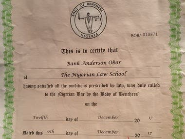 CERTIFICATE of CALL TO THE BAR AS A BARRISTER & SOLICITOR.