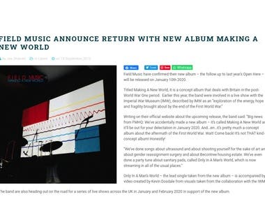 News story for music website
