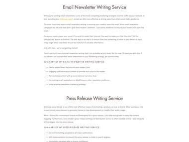 Webpage for Content Writing Services