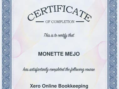 Xero Online Bookkeeping - Certificate of Completion