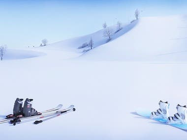 Exterior rendering winter ski slope - Vray