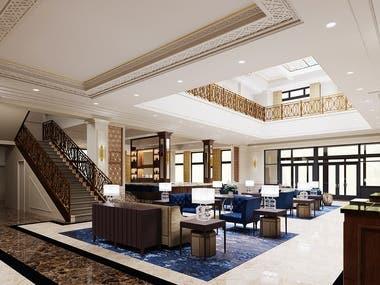 Hotel Lobby area rendering - Corona