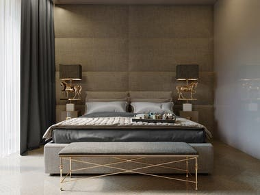 Bedroom - dark interior rendering - Corona