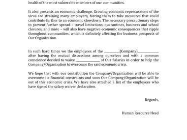 COVID 19 Letter Sample
