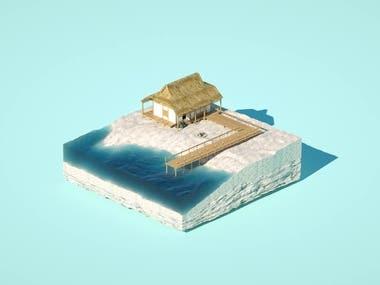 Isometric beach animation