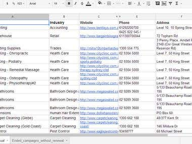 Google Spreadsheet for Web research and Data entry Project