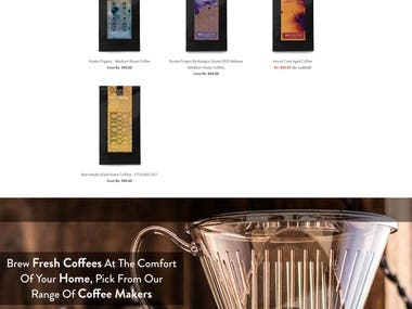 eCommerce website for coffee business