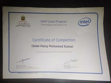 Intel learn program certificate of completion