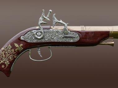 flintlock pistol 3d modeling