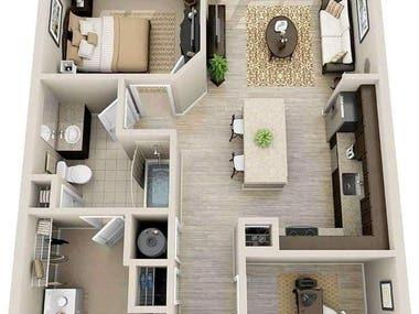 Floor Interior 3D View of a Building