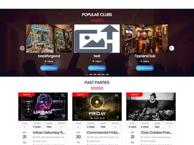 Event Management Site for Clubs & Bars