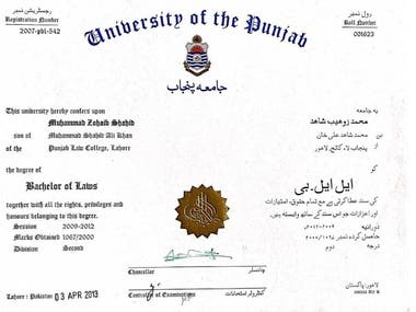 My Degree of Bachelor of Law