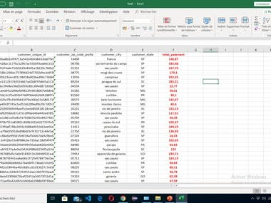 Large excel data calculation