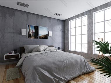 3D Realistic bedroom design