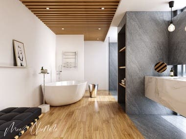 "3D product rendering ""towel rails"" in bathroom scene"