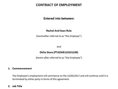Type out an employment contract