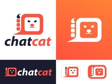 chat cat logo design icon