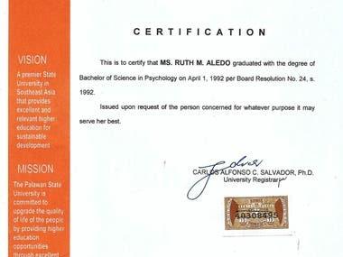 Certificate Of Graduation In College
