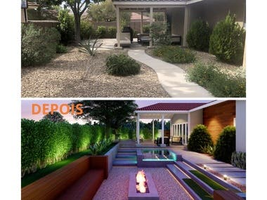 Landscaping design for a house backyard