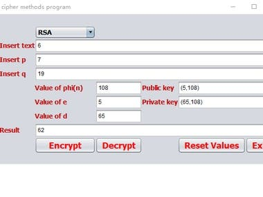 Java Swing GUI RSA Cryptography Project