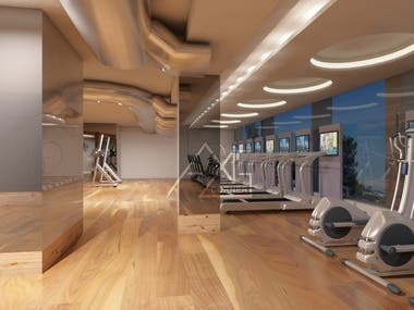 Health and Fitness Gym Center Interior Render