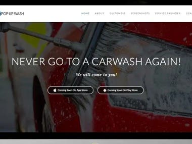 Landing Page for car wash