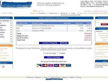 Ecommerce website of Telecom parts provider