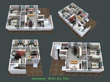 3D Bird's Eye View of a house