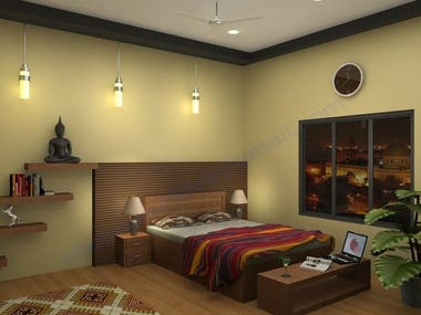 3D image of a master bed room
