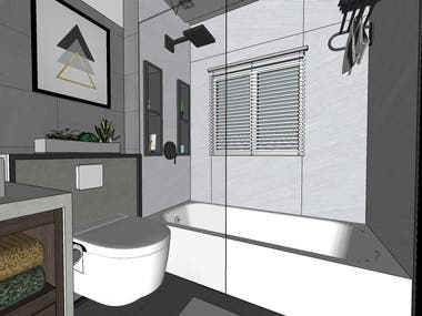 Bath Room 3D rendering Project