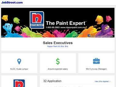 Grid Job advertisement page