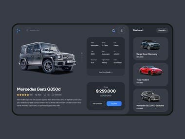 Car E-Commerce Website Product Screen
