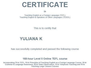 TEFL Certificate (Teaching English as a Foreign Language)