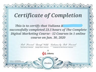 Certificate of The Complete Digital Marketing Course