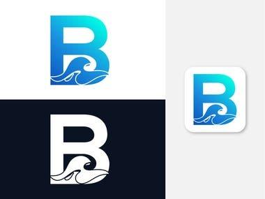 B letter ocean wave logo design