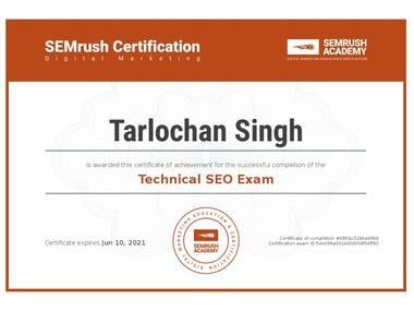 SEMrush Certified in Technical SEO Exam.