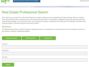 Data Scrape for Real Estate Council of Ontario (RECO)