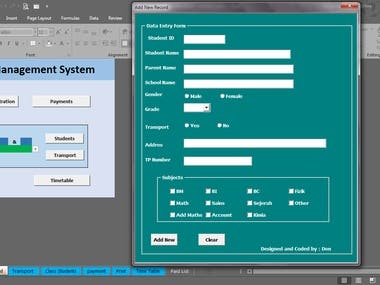 School Management System -VBA, Macro & Advance excel