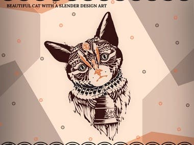 Beautiful cat with illustration design art