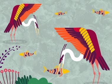 Colorful Herons Catching Fish In The Lake - Illustration Art